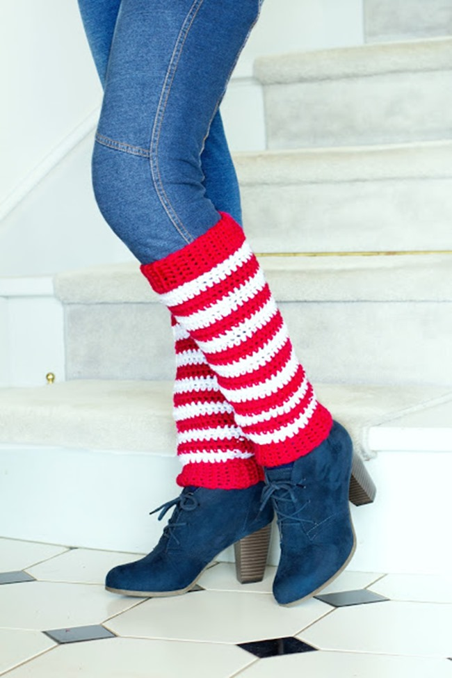 Christmas Crochet Patterns - Free Project Ideas! - Candy Cane Legwarmers