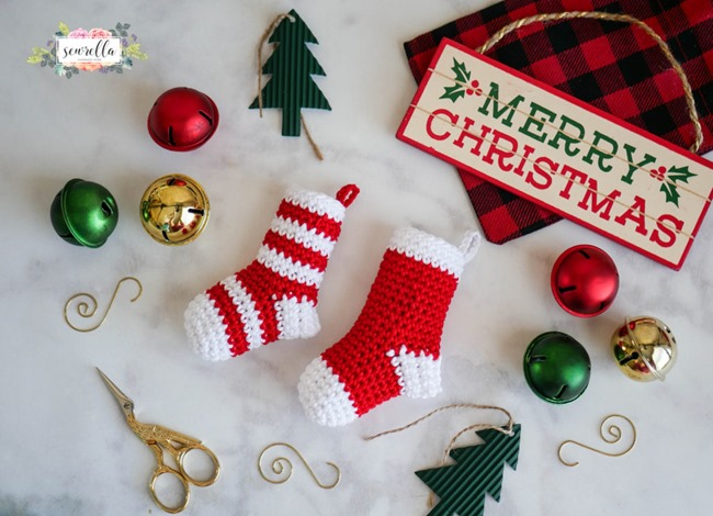 Christmas Crochet Patterns - Free Project Ideas! - Mini Stocking Ornaments
