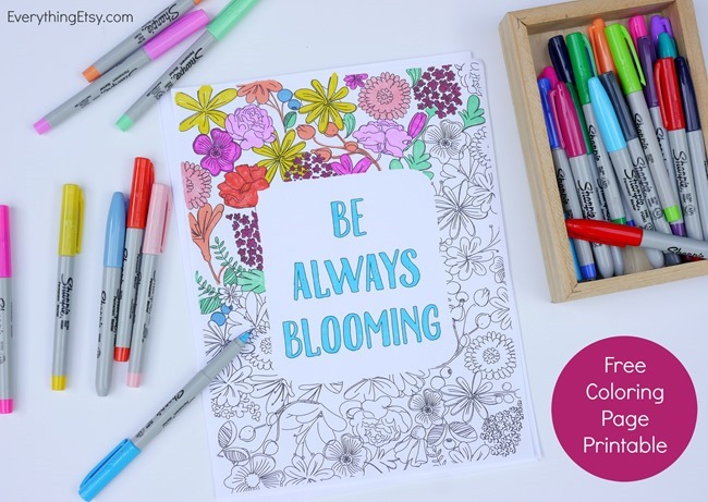 12 Inspiring Quote Coloring Pages for Adults - Be Always Blooming