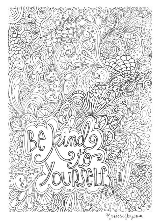 12 inspiring quote coloring pages for adults be kind - Free Inspirational Coloring Pages For Adults