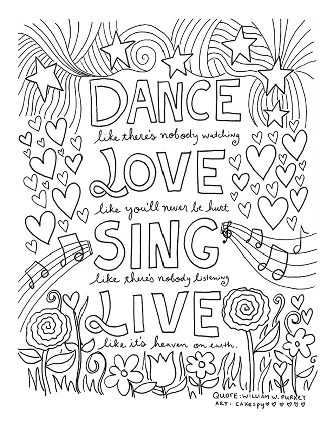 12 inspiring quote coloring pages for adults dance - Inspirational Coloring Pages For Adults