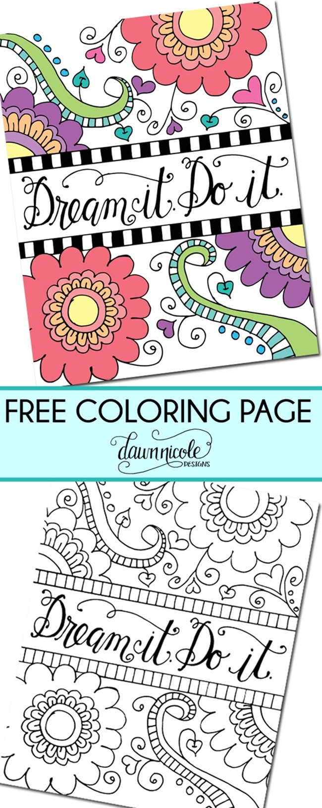 12 Inspiring Quote Coloring Pages for Adults - Dream It