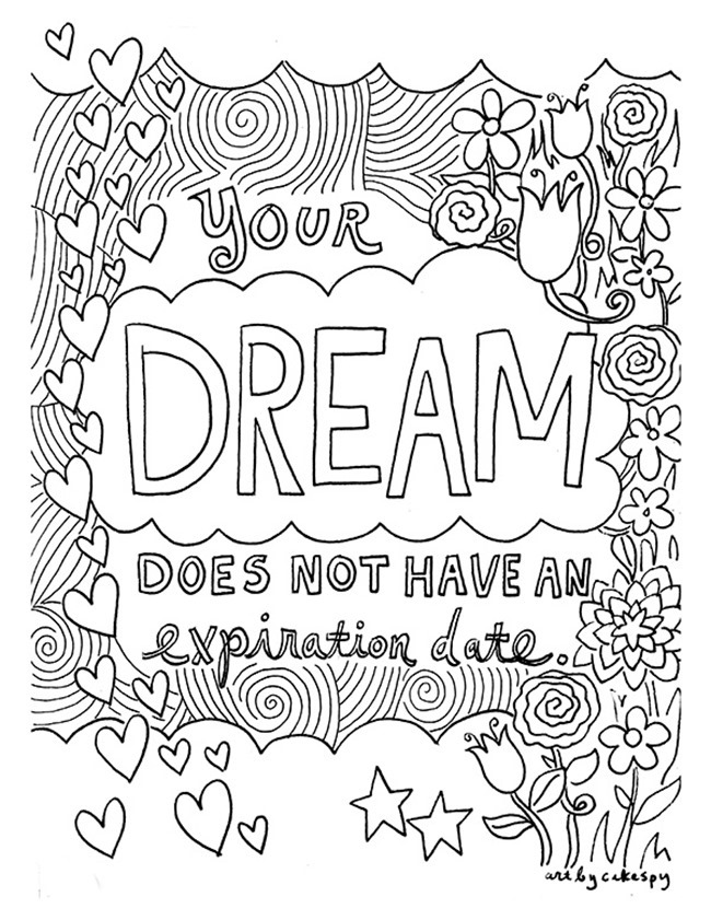 12 inspiring quote coloring pages for adults dreams - Free Adult Coloring Books