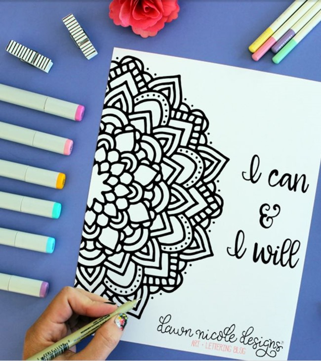 12 Inspiring Quote Coloring Pages for Adults - I Can