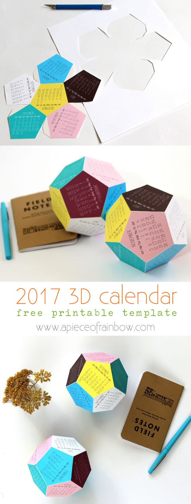 Free 2017 Printable Calendars - 3D