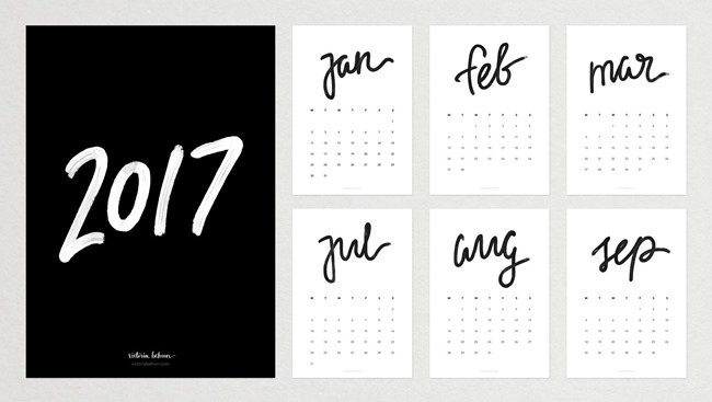 Free 2017 Printable Calendars - Black and White