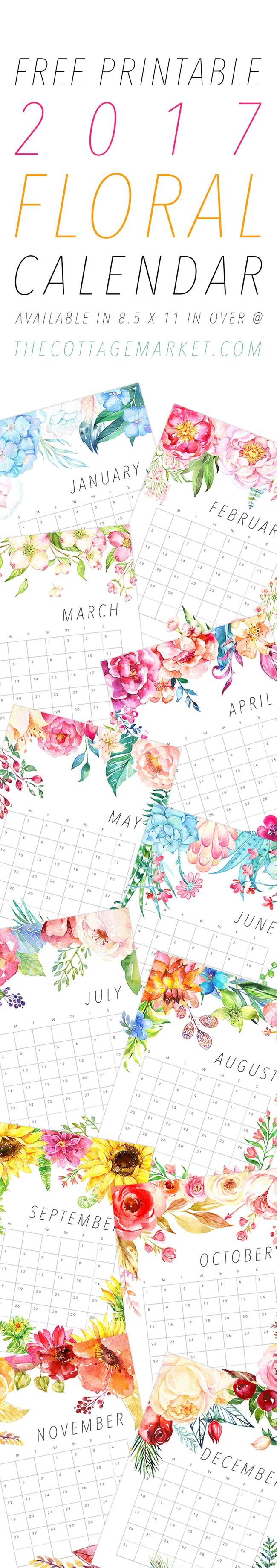 Free 2017 Printable Calendars - Blooms