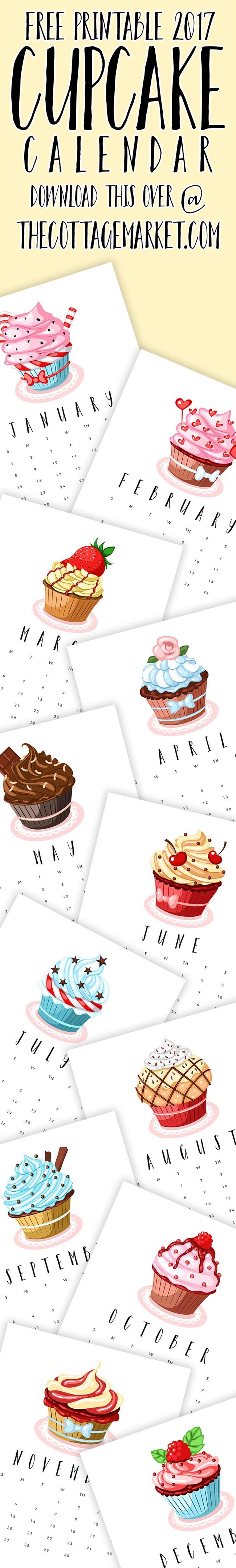 Free 2017 Printable Calendars - Cupcakes