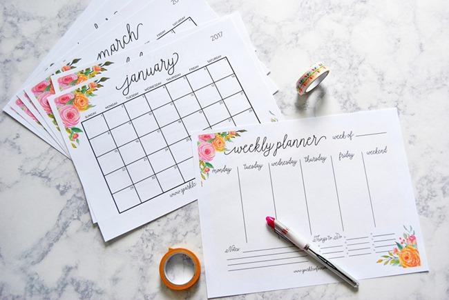 Free 2017 Printable Calendars - Flowers