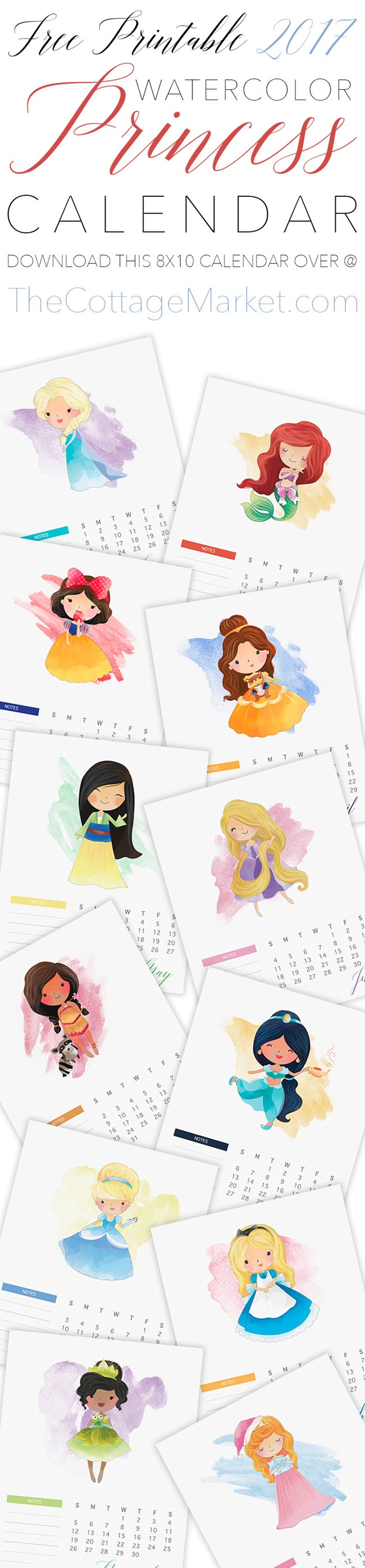 Free 2017 Printable Calendars - Princesses