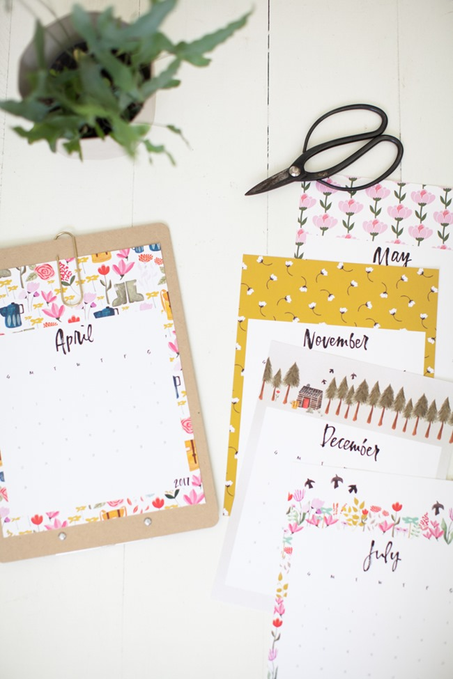 Free 2017 Printable Calendars - Whimsical