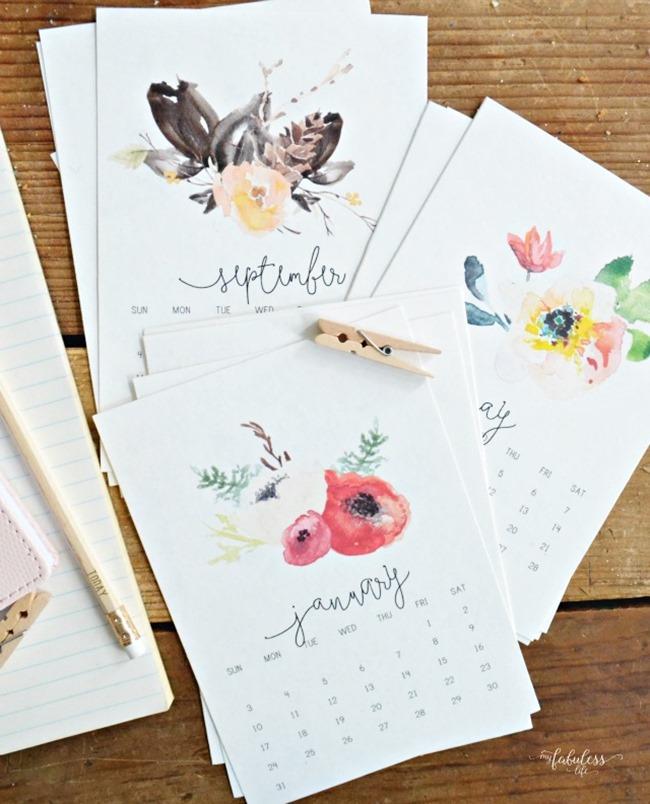 Free 2017 Printable calendars - Floral