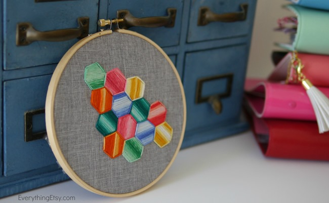 Hexagon Embroidery Love - Tutorial - EverythingEtsy.com