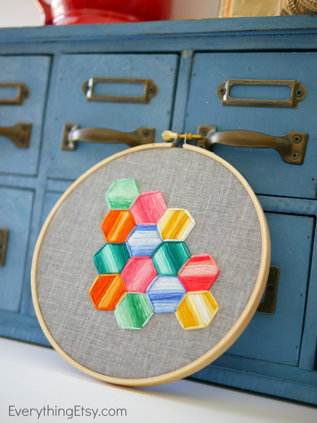 Hexagon Embroidery Love - Tutorial on EverythingEtsy.com