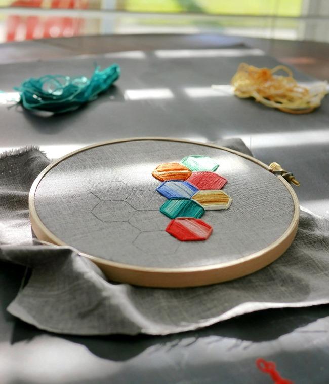 Hexagon Embroidery Tutorial 5 - EverythingEtsy.com