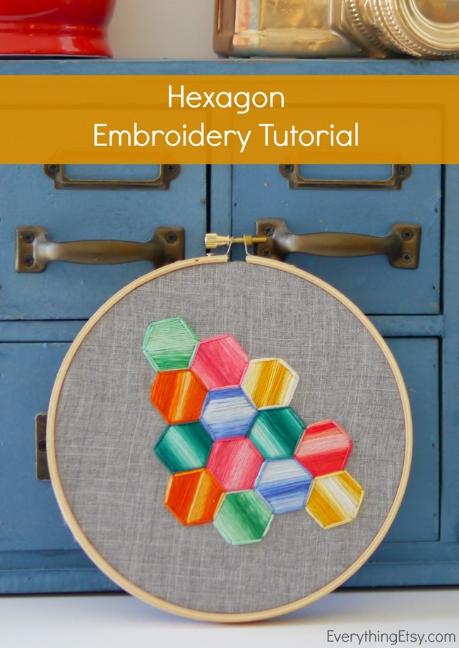 Hexagon Embroidery Tutorial and Inspiration on EverythingEtsy.com