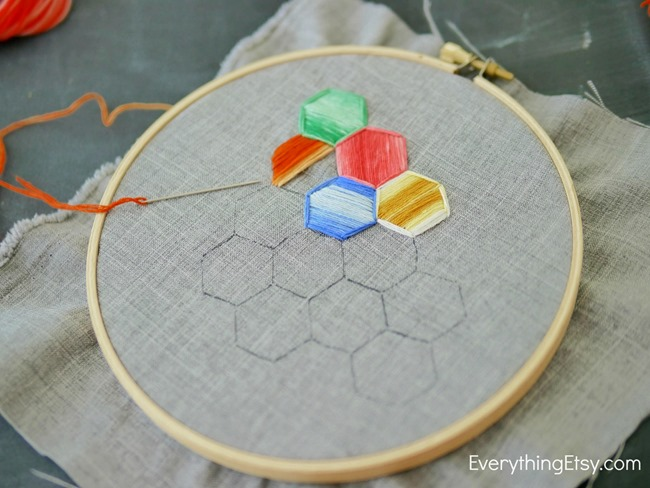 Hexagon Embroidery Tutorial on EverythingEtsy.com
