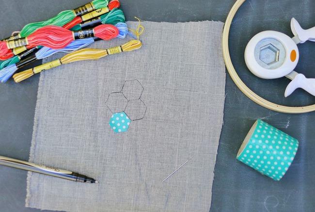 hexagon embroidery tutorial 2 - EverythingEtsy.com
