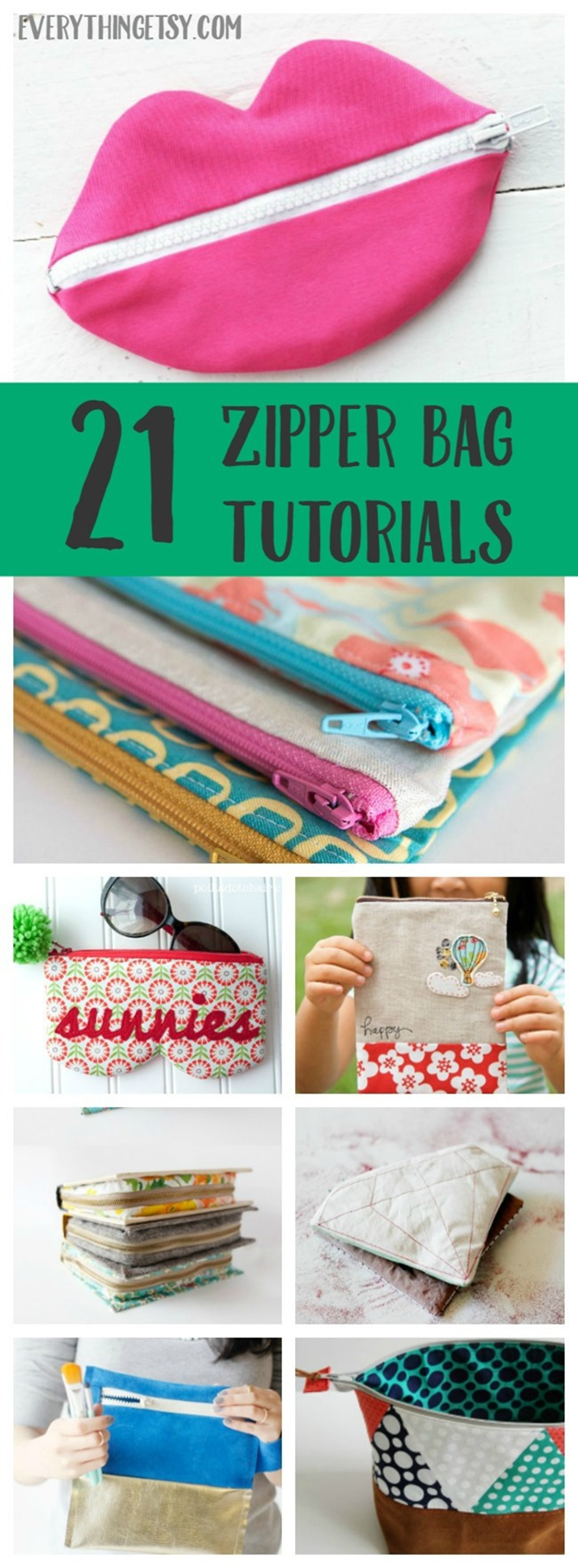 21 Zipper Bag Sewing Tutorials on EverythingEtsy