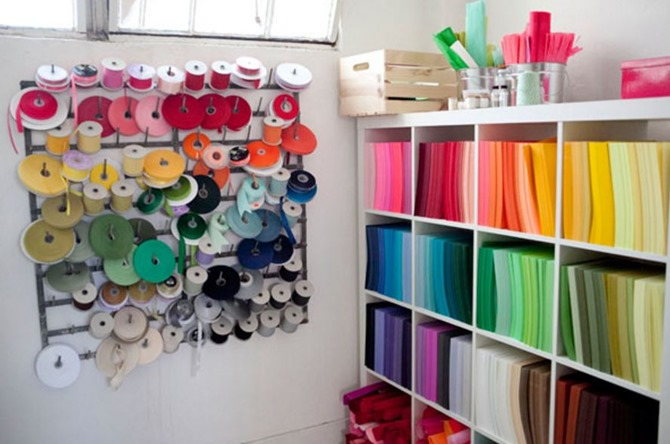 craft room inspiration - Oh Happy Day Ribbon Wall