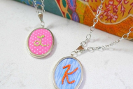 Initial Necklace DIY Gift–Embroidered Pendant