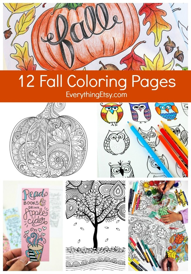 12 Fall Coloring Pages for Adults & Kids - EverythingEtsy