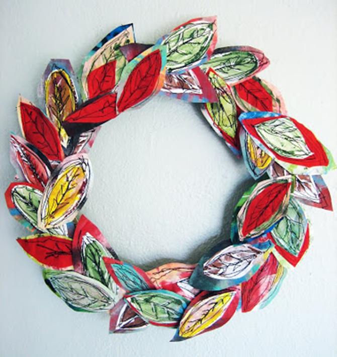 21 Fall Wreath Ideas - Fiber Leaves - EverythingEtsy