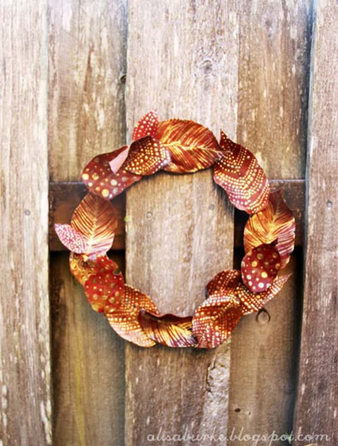 21 Fall Wreath Ideas - Golden Leaves - EverythingEtsy