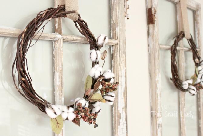 21 Fall Wreath Ideas - Simply Cotton DIY Wreath - EverythingEtsy