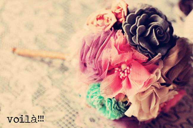 DIY Wedding Bouquets - Vintage Fabric Flowers