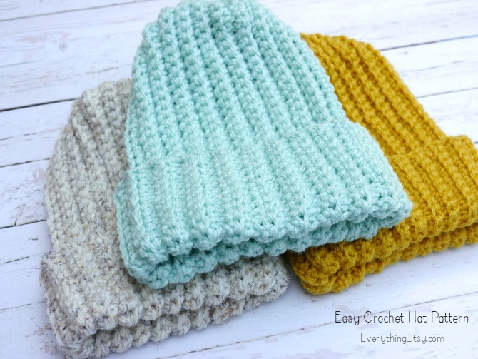 Easy Crochet Hat Pattern - Free on EverythingEtsy.com eeb9499a8d3