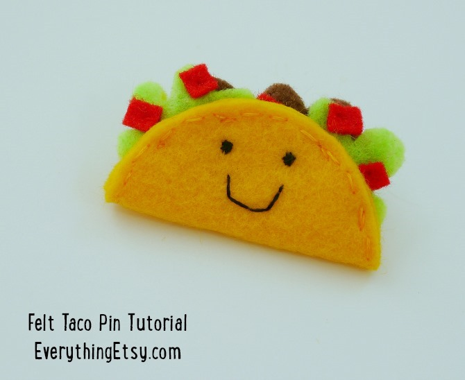 Felt Taco Pin -- Tutorial on EverythingEtsy.com