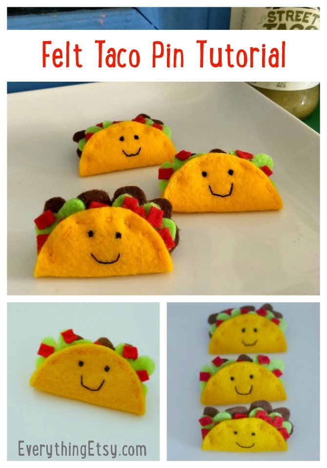 Felt Taco Pin Tutorial on EverythingEtsy.com