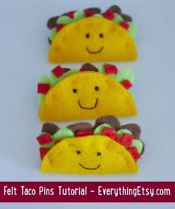 Felt Taco Pins Tutorial -- EverythingEtsy.com 1