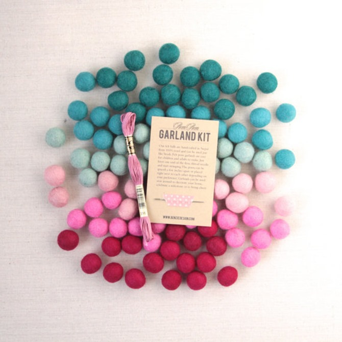 Winter DIY Gifts {Etsy Finds} - Felt Pom-Pom Garland Kit