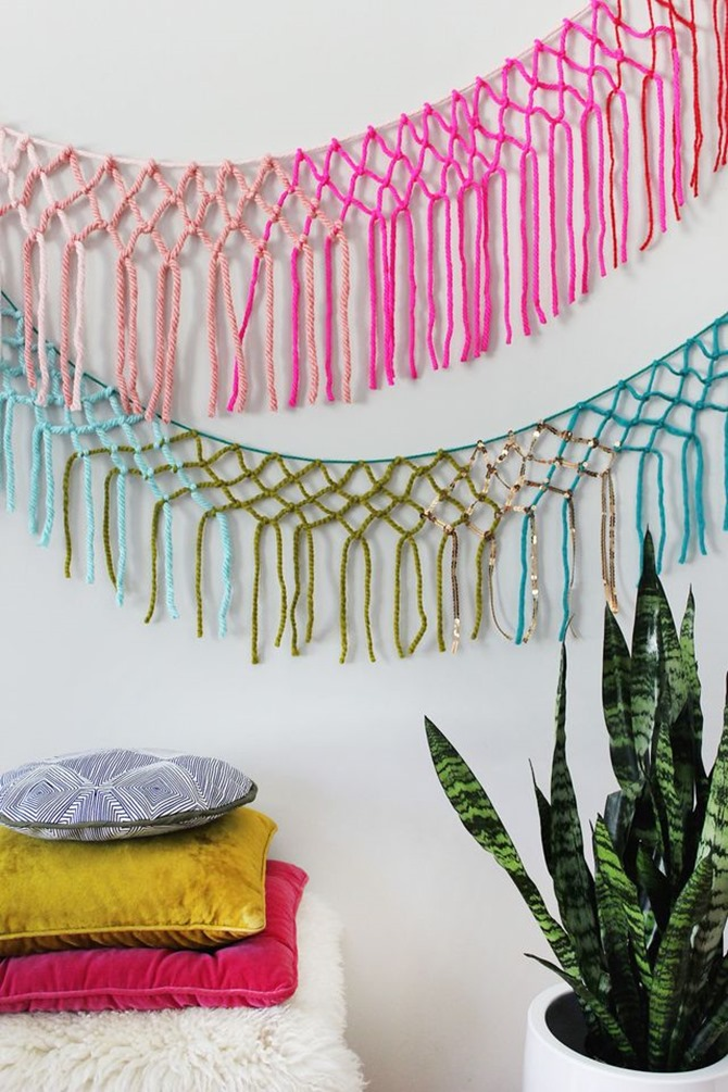DIY Yarn Decor - Macrame Yarn Garland