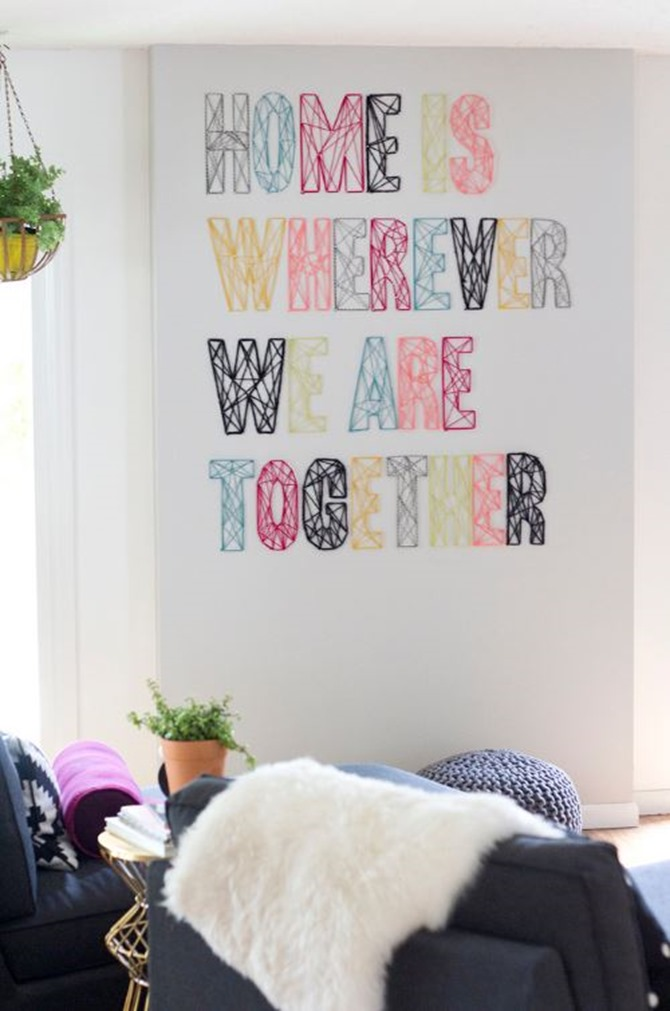 DIY Yarn Decor - Nail Wall Art