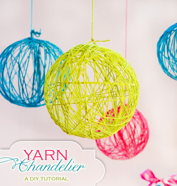DIY Yarn Decor - Yarn Chandelier