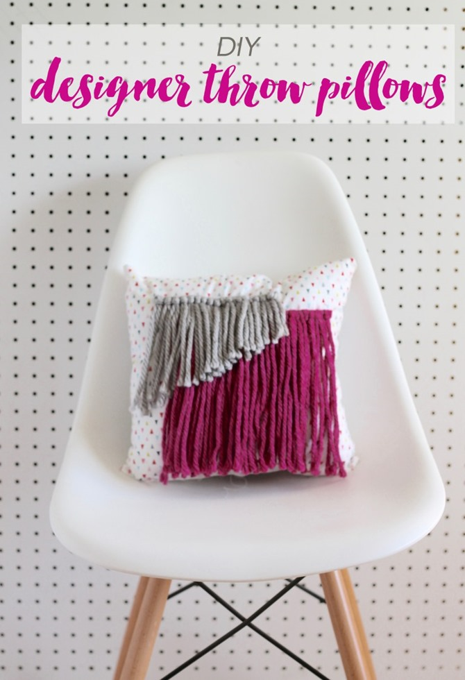 DIY Yarn Decor - Yarn Throw Pillow