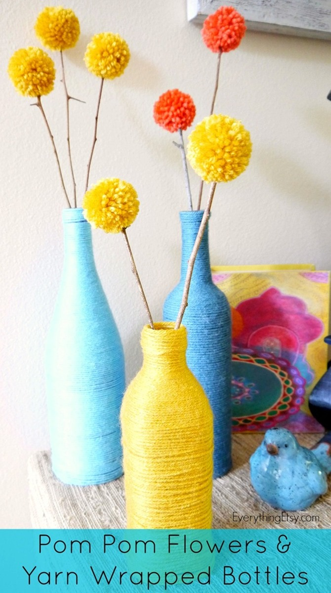 DIY Yarn Decor - Yarn Wrapped Bottles and Pom Pom Flowers