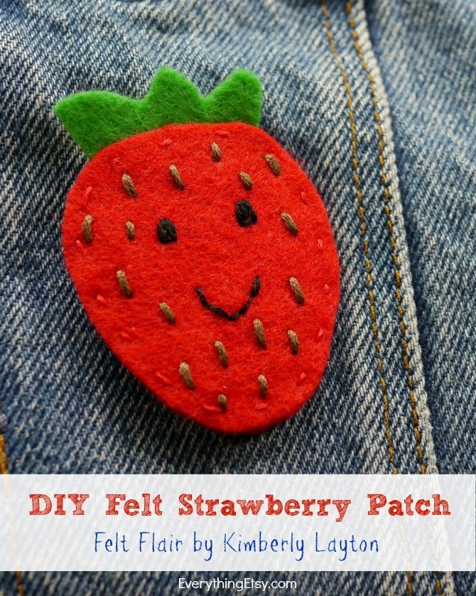 Felt Flair - DIY Iron On Strawberry Patch by Kimberly Layton - EverythingEtsy.com