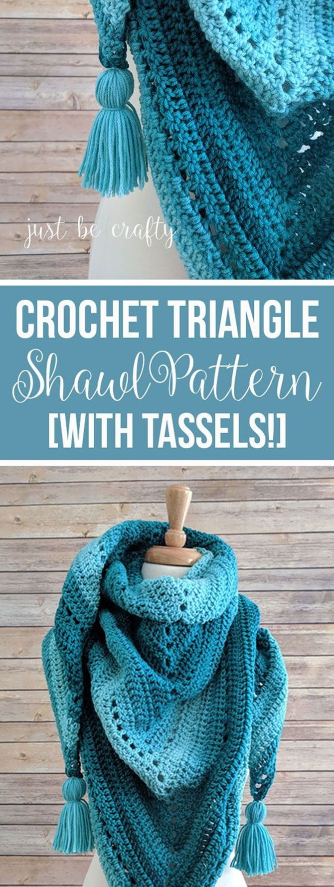 Free Crochet Shawl Pattern - Triangle with tassels