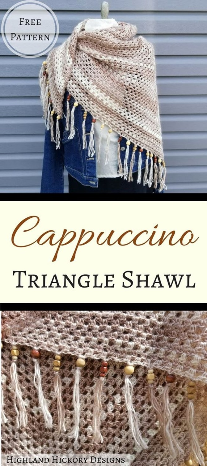 Free Shawl Pattern - Cappuccino Triangle by Highland Hickory Designs