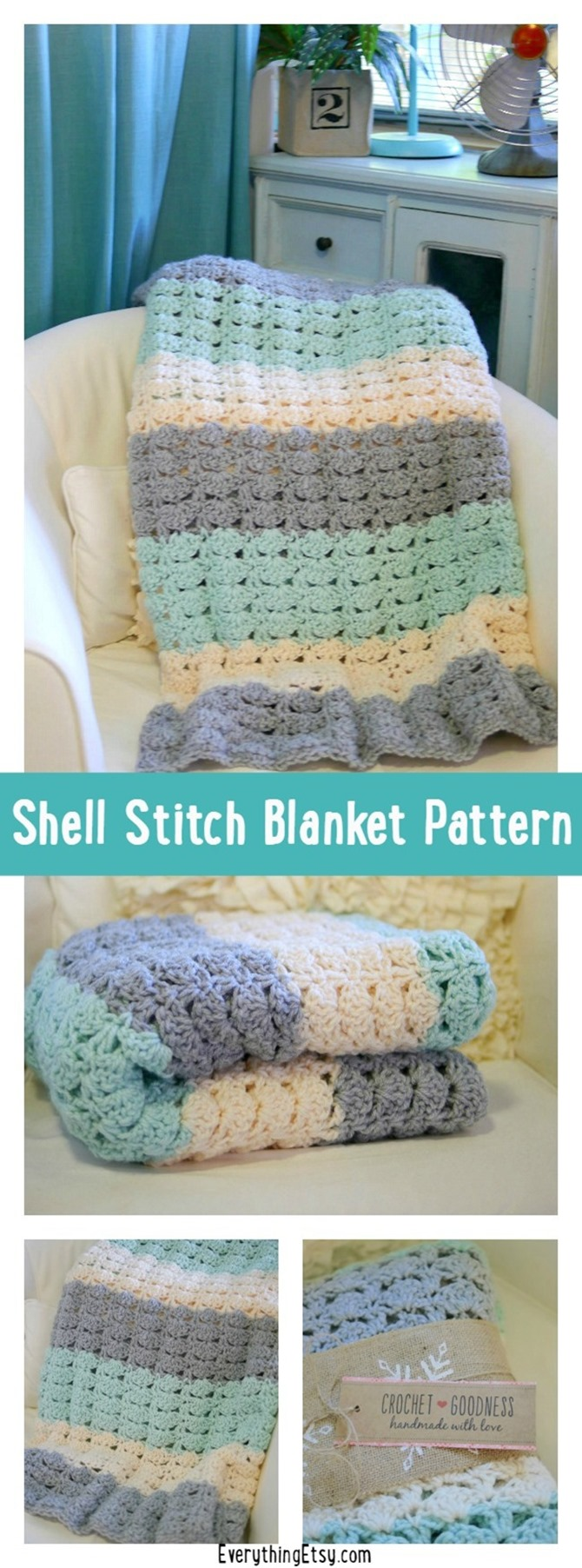 free crochet blanket pattern - shell stitch