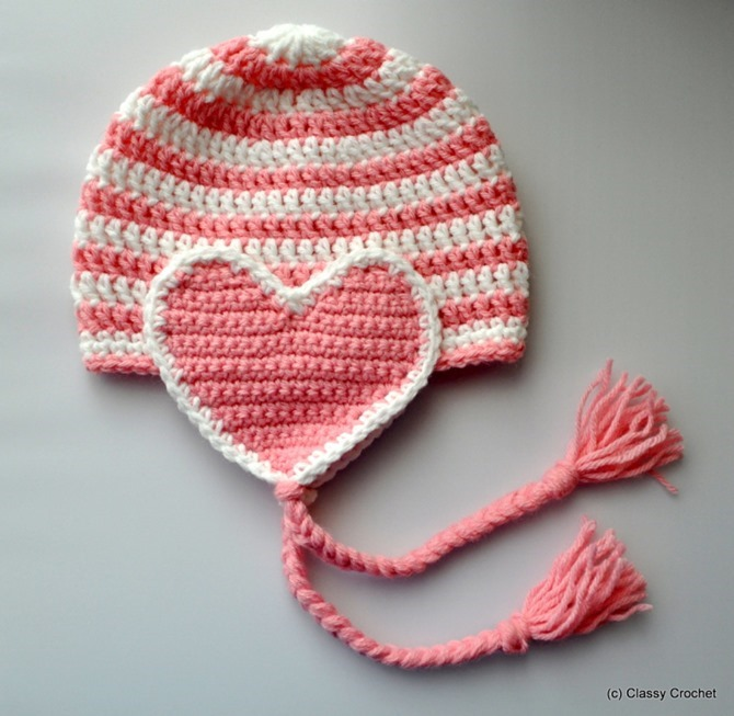 12 Crochet Valentine's Day Projects {Free Patterns} - Heart Flap Hat