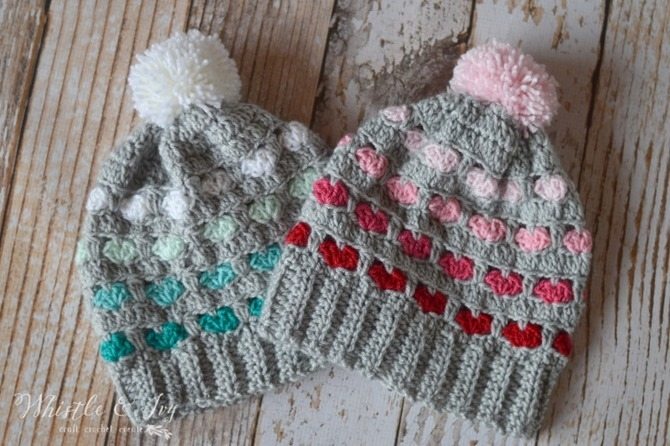 12 Crochet Valentine's Day Projects {Free Patterns} - Puffy Heart Hat