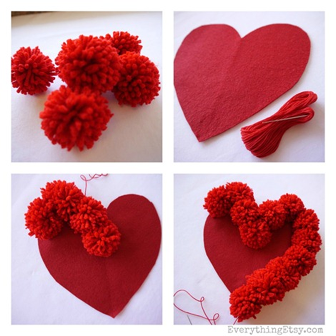Pom Pom Heart Pillow Tutorial - Steps - EverythingEtsy