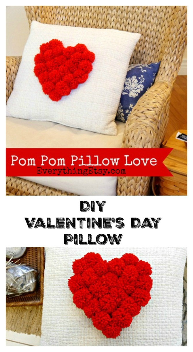 Valentine's Day DIY Pom Pom Pillow - EverythingEtsy.com