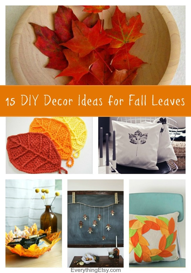 15 DIY Decor Ideas for Fall Leaves - beautiful ideas to decorate with this season - EverythingEtsy