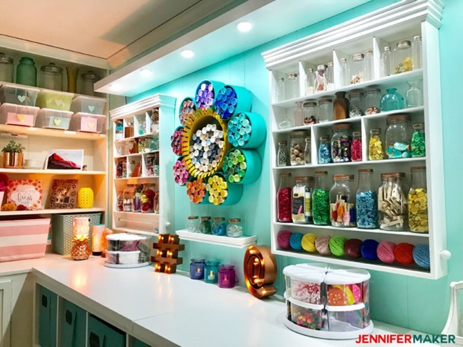 Craft Room Inspirations found at JenniferMaker - Organized craft supply goodness!!